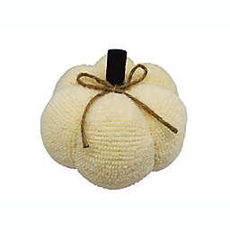 6-Inch Fabric Artificial Pumpkin in Cream