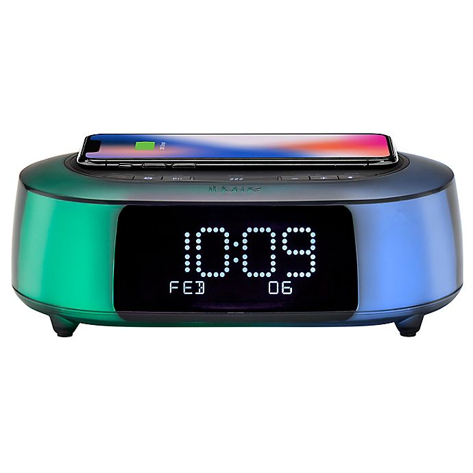 Alternate image 1 for iHome® TimeBoost Glow Alarm Clock in Black with Qi Wireless Charging and USB Port