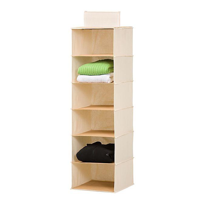 Alternate image 1 for Honey-Can-Do® 6-Shelf Hanging Closet Organizer in Natural