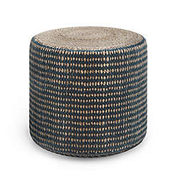 Simpli Home Larissa Round Braided Pouf in Natural/Teal