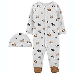 carter's® Size 6M 2-Piece Animal Snap-Up Sleep & Play Footie and Cap Set in Brown
