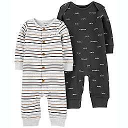 carter's® 2-Pack Stripe/Smile Jumpsuits