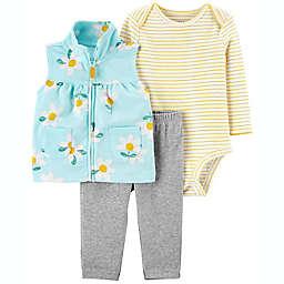 carter's® 3-Piece Floral Vest, Bodysuit, and Legging Set in Blue