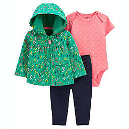 carter's® 3-Piece Floral Cardigan, Bodysuit, and Pant Set in Green/Pink