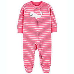 carter's® Whale 2-Way Zip Sleep & Play Footie in Pink