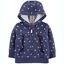 carter's® Floral Zip-Up French Terry Hoodie in Navy