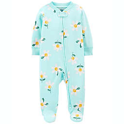 carter's® Size 3M Daisy 2-Way Zip Sleep & Play Footie in Light Blue