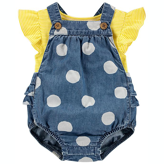 Alternate image 1 for carter's® 2-Piece Ruffle Dot Tee and Bubble Romper Set in Yellow/Blue