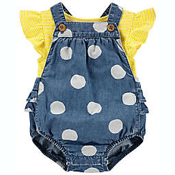 carter's® 2-Piece Ruffle Dot Tee and Bubble Romper Set in Yellow/Blue
