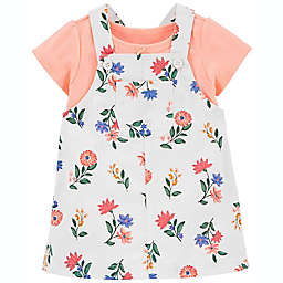 carter's® 2-Piece T-Shirt and Floral Skirtall Set in White/Pink