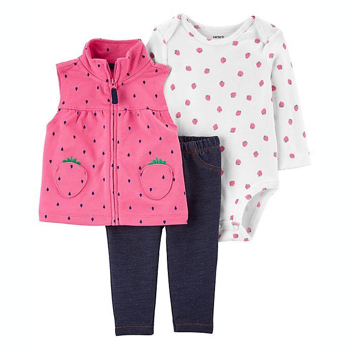 Alternate image 1 for carter's® 3-Piece Strawberry Vest, Bodysuit, and Legging Set in Pink