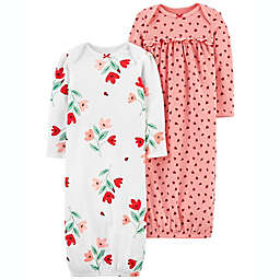 carter's® 2-Pack Nightgowns in White Floral/Pink Dot