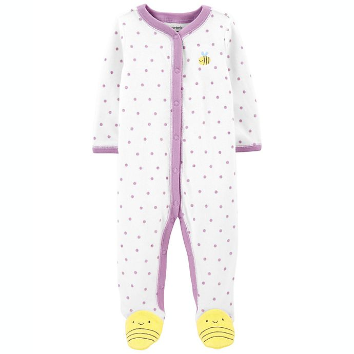 Alternate image 1 for carter's® Bee Snap-Up Sleep & Play Footie in White