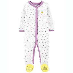 carter's® Size 9M Bee Snap-Up Sleep & Play Footie in White