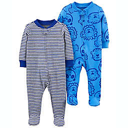 carter's® 2-Pack Animal/Stripe Zip-Up Cotton Sleep & Plays in Blue