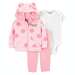 carter's® 3-Piece Bear Jacket, Bodysuit, and Pant Set in Pink