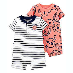 carter's® Size 18M 2-Pack Koala Cotton Snap-Up Rompers in Coral