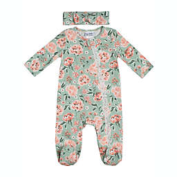 Nicole Miller™ 2-Piece Floral Bodysuit and Headband Set in Mint/Coral