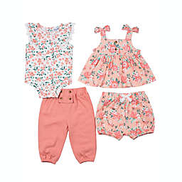 Nicole Miller™ 4-Piece Floral Layette Set in Coral