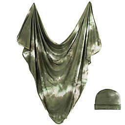 Bazzle Baby Tie Dye Forever Swaddle Blanket and Hat Set in Olive