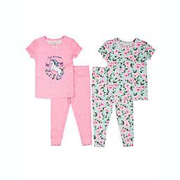 Nicole Miller™ 4-Piece Unicorn Flowers Pajama Set