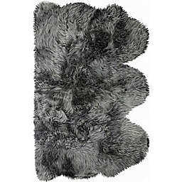 Natural New Zealand Triple Sheepskin 3' x 5' Handcrafted Area Rug in Grey
