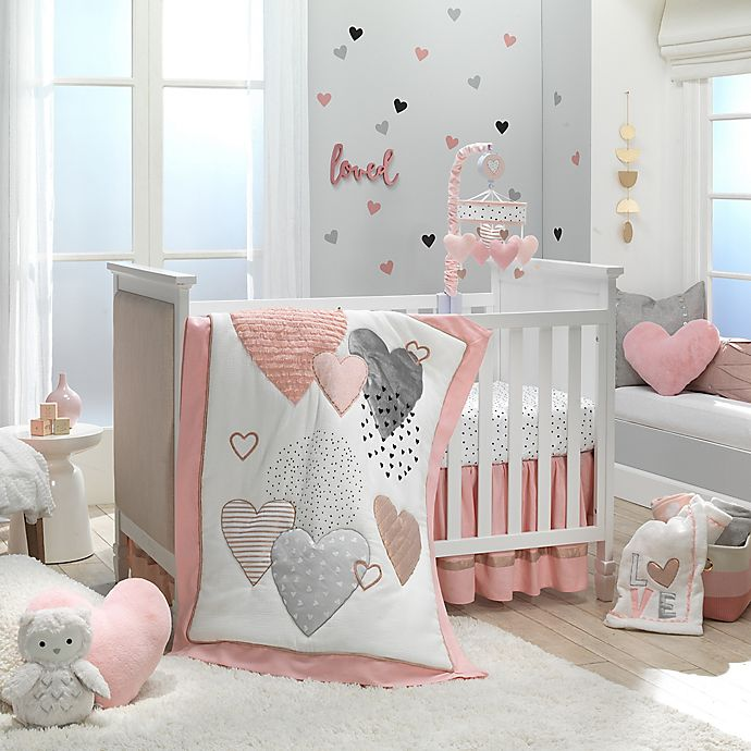 Alternate image 1 for Lambs & Ivy® Heart To Heart 4-Piece Crib Bedding Set in Pink/White