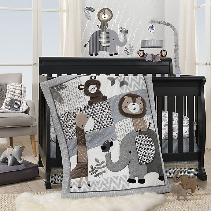 Alternate image 1 for Lambs & Ivy® Urban Jungle 4-Piece Crib Bedding Set in Grey/White