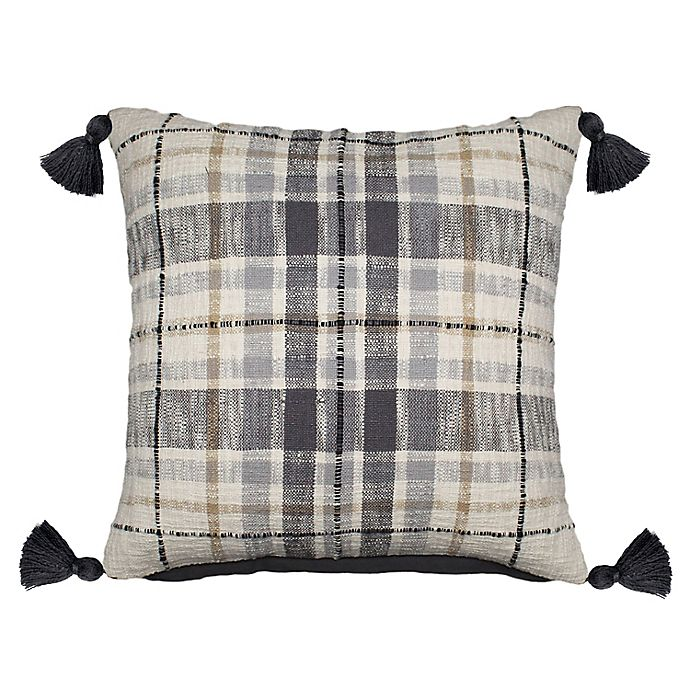 Alternate image 1 for Bee & Willow™ Harvest Plaid Tassels Square Throw Pillow in Ivory