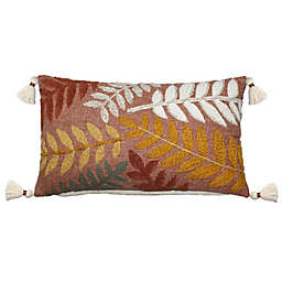 Harvest Embroidered Leaves Rectangular Throw Pillow