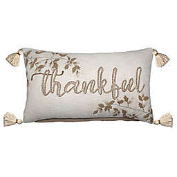 """Bee & Willow™ Harvest """"Thankful"""" Rectangular Throw Pillow in Ivory"""
