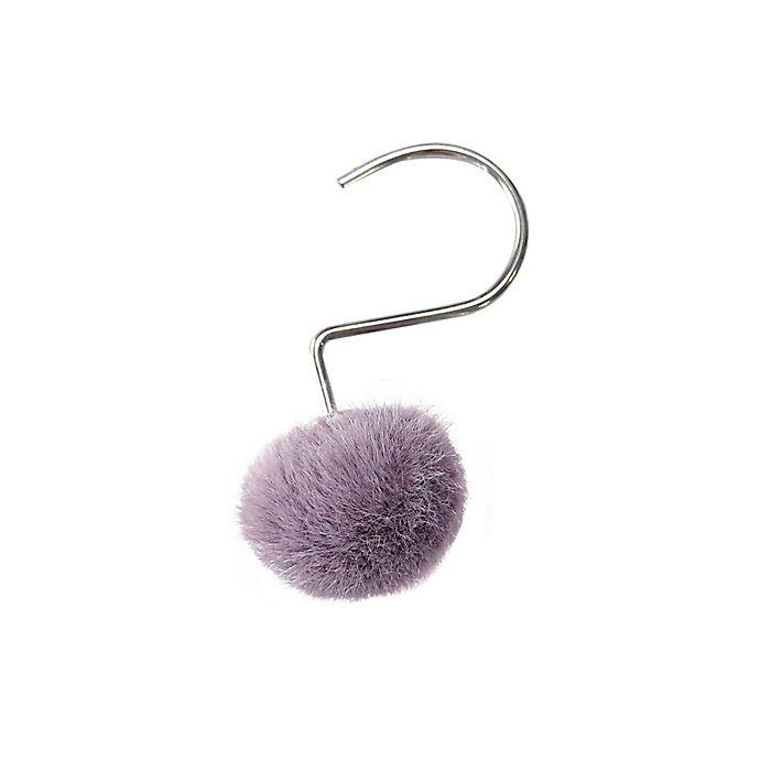 Alternate image 1 for Wild Sage™ Rochell Faux Fur Pom Pom Shower Hooks (Set of 12)