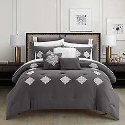 Jordan 12-Piece Queen Comforter Set in Grey