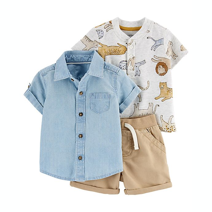 Alternate image 1 for carter's® Size 24M 3-Piece Tiger Shirt and Short Set in Chambray
