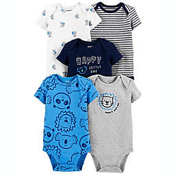 carter's® 5-Pack Lion Bodysuits in Grey/Blue