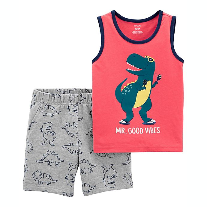 Alternate image 1 for carter's® Size 6M 2-Piece Dino Tank and Short Set in Orange/Grey