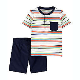carter's® 2-Piece Striped Henley Multicolor Shirt and Short Set