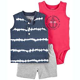 carter's® Size 6M 3-Piece Tie-Dye Tank, Bodysuit, and Short Set in Blue