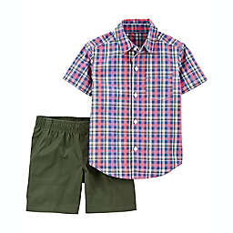 carter's® Size 24M 2-Piece Plaid Short Sleeve Shirt and Short Set in Red/Olive