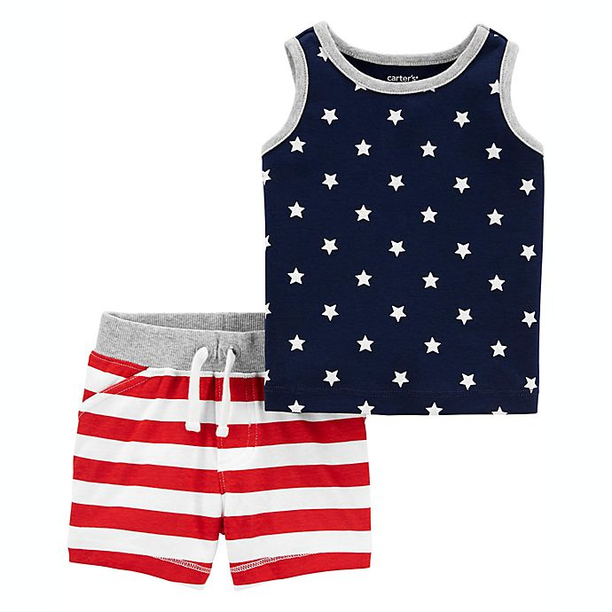 Alternate image 1 for carter's® Size 24M 2-Piece 4th of July Tank Top and Short Outfit in Blue/Red
