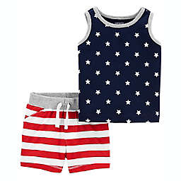 carter's® 2-Piece 4th of July Tank Top and Short Outfit in Blue/Red