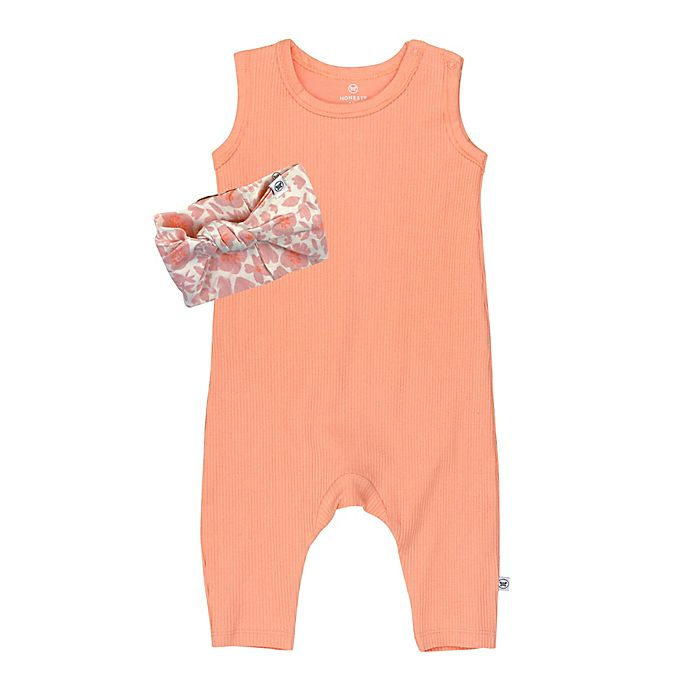 Alternate image 1 for The Honest Company® 2-Piece Organic Cotton Rib Romper and Headband Set in Coral Pink