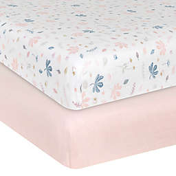 Living Textiles 2-Pack Botanical Organic Cotton Muslin Fitted Crib Sheets in Pink