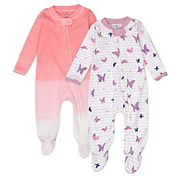 The Honest Company™ 2-Pack Organic Cotton Butterfly Sleep & Plays in Purple/Pink
