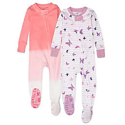 The Honest Company® Size 12M 2-Pack Butterfly Organic Cotton Footed Pajamas in Purple