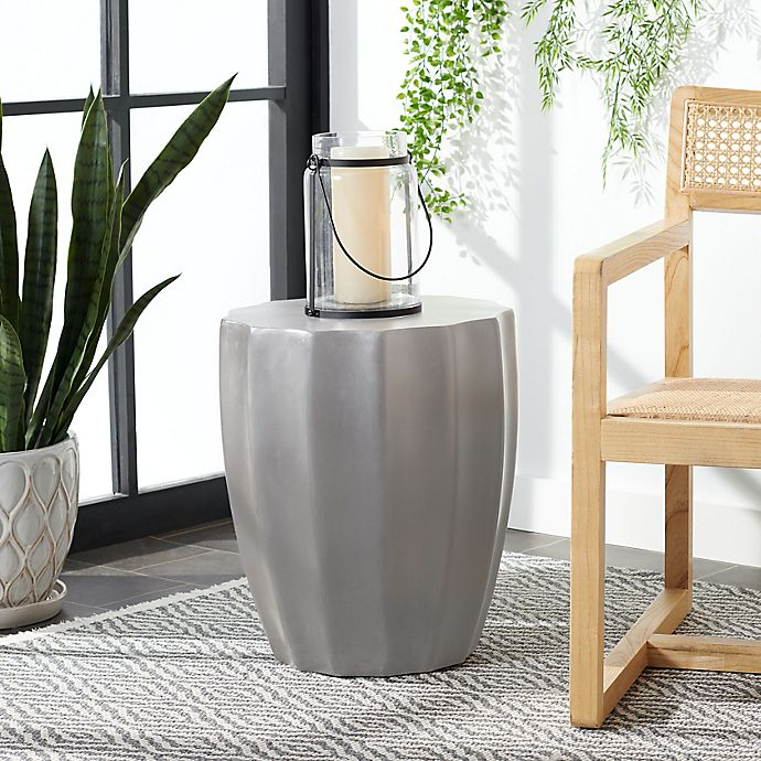 Alternate image 1 for Safavieh Jaslyn Indoor/Outdoor Concrete Accent Table in Dark Grey