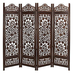Ridge Road Décor Traditional Botanical 4-Panel Mango Wood Room Divider Screen in Brown