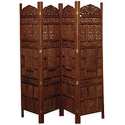 Ridge Road Décor Traditional 4-Panel Mango Wood Room Divider Screen in Red