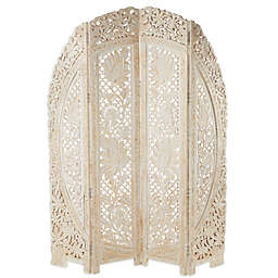 Ridge Road Décor Eclectic 4-Panel Mango Wood Room Divider Screen in White