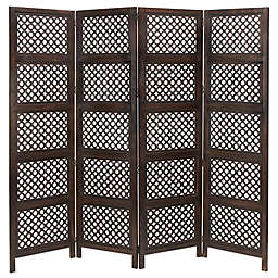 Ridge Road Décor Traditional 4-Panel Room Divider Screen in Brown